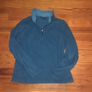 Lands' End teal fleece pullover